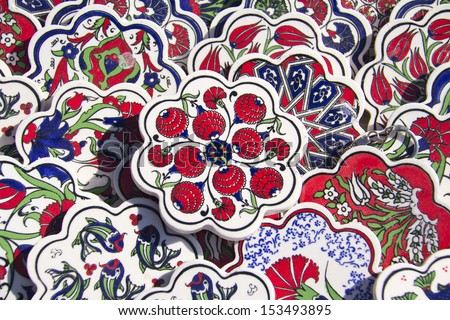 Ancient Handmade Turkish Tiles sale for on market - stock photo