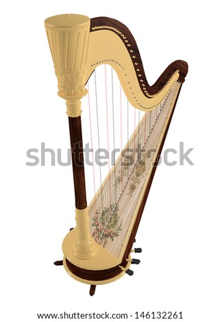 Ancient harp isolated