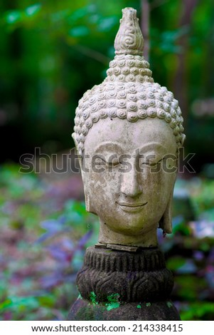 Ancient Head Buddha statue in Wat Umong - stock photo