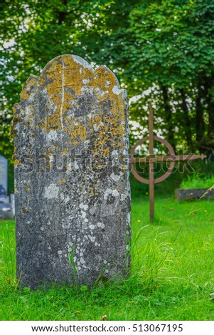 Ancient headstone in an old cemetery outside Carrigallen, in Lovely Leitrim, Ireland.