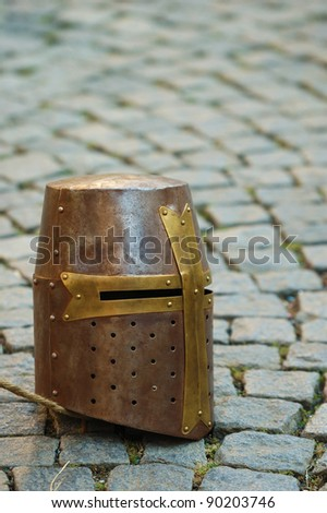 Ancient helmet, portrait - stock photo