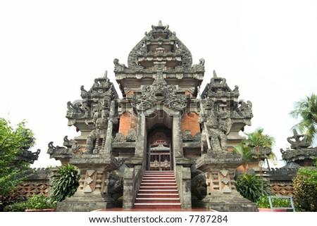 ancient hindu temple at bali - stock photo