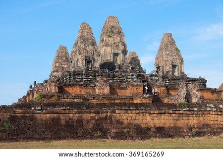 Ancient Hindu temple in Cambodia in the area Siemreap - stock photo