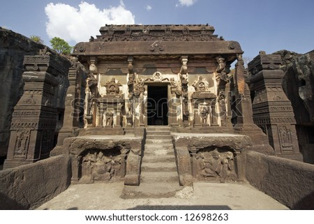 Ancient Hindu Temple (Kailas Temple) carved out of solid rock. Cave number 16, Ellora Caves, near Aurangabad, India. 8th Century AD