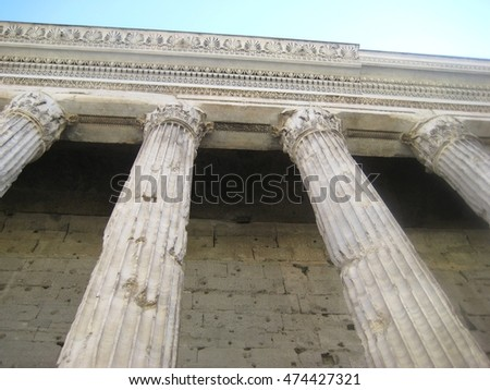 Ancient historic columns of Pantheon in Rome, Italy