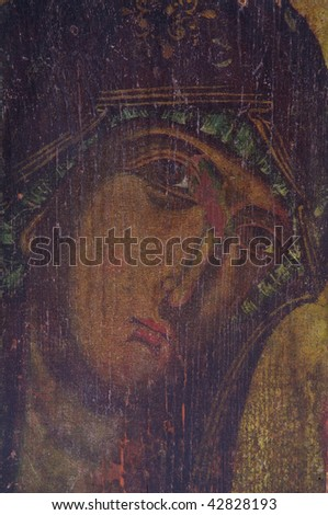 ancient  Holy Mother  orthodox church  icon - stock photo