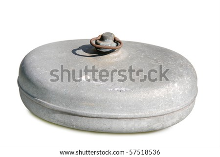 Ancient hot water bottle - isolated on white background - stock photo