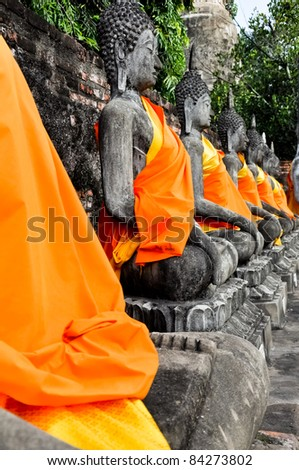 Ancient image buddha statue in Ayutthaya Thailand - stock photo
