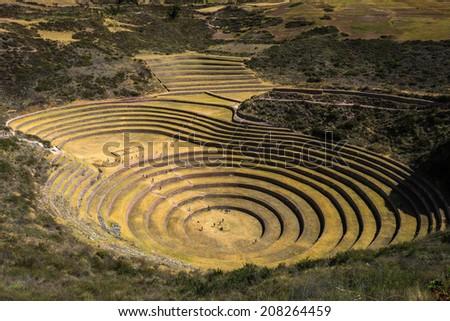 Ancient Inca circular terraces - stock photo