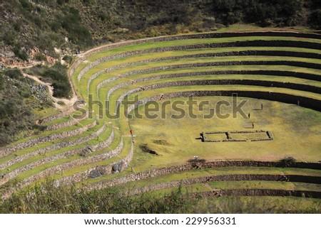 Ancient Inca circular terraces at Moray - stock photo