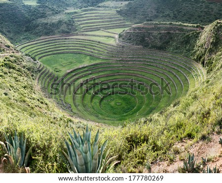 Ancient Inca circular terraces at Moray (agricultural experiment station), Peru - stock photo