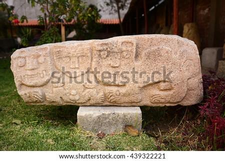 Ancient Inca head sculpture located outdoor, Cuzco, Peru - stock photo