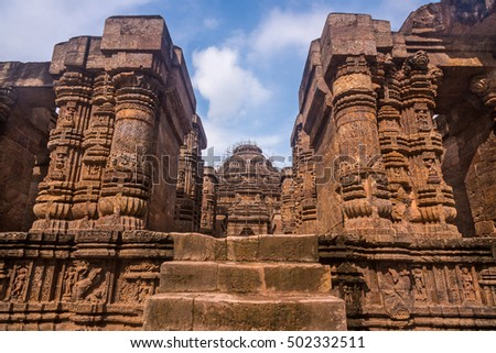 Ancient Indian architecture at Konark Sun temple currently under ruins.This historically important temple is a world heritage site.
