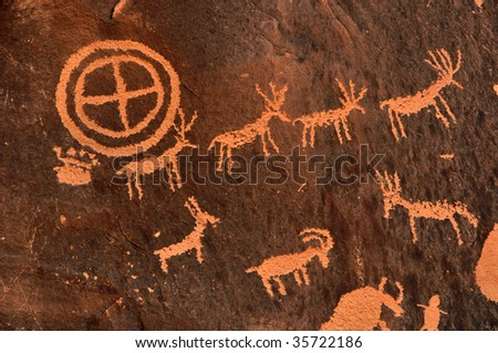 Ancient Indian Petroglyph in southern Utah - stock photo