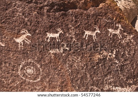 Ancient Indian Petroglyph of Big Horned Sheep located near Laughlin, Nevada from Grapevine Canyon - stock photo