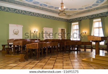 Ancient interior of a school room. The liceum in Tsar village where studied russian poet Pushkin - stock photo