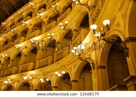 Ancient Italian Renaissance Opera House. Luxury classical theatre. - stock photo