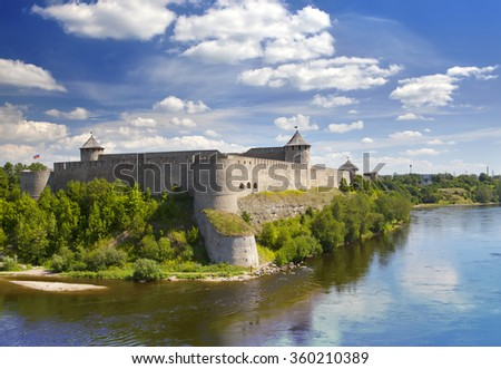 ancient Ivangorod fortress (XV century ) at the border of Russia and Estonia - stock photo