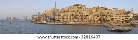 Ancient Jaffa Port and Tel-Aviv - stock photo