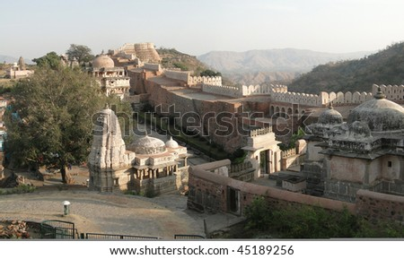 Ancient Jain temple inside the walls of  Kumbhalgarh Fort in  Rajasthan,  India, Asia