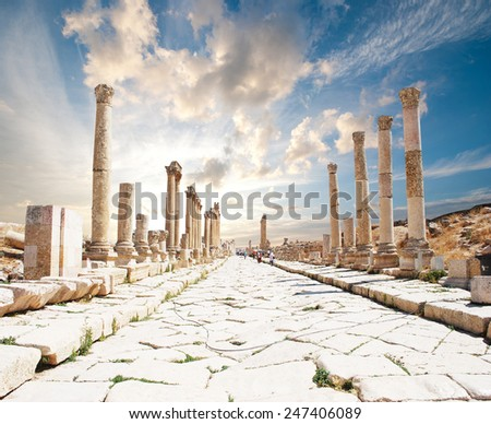 Ancient Jerash. Ruins of the Greco-Roman city of Gera at Jordan - stock photo
