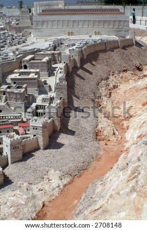 Ancient Jerusalem and the ancient holy temple with the valley - stock photo
