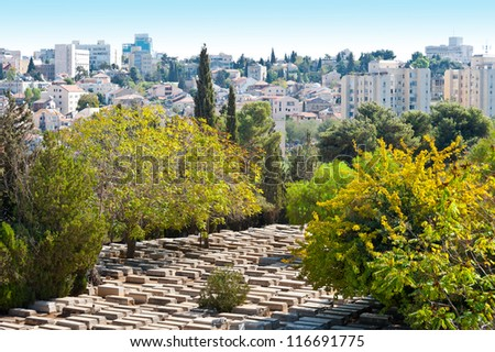 Ancient Jewish Cemetery in Jerusalem among the Trees - stock photo