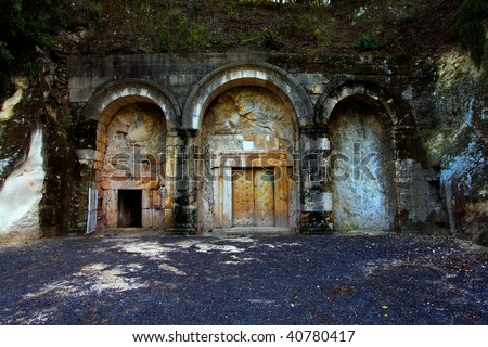 Ancient jewish tomb in Beit Shearim, israel - stock photo