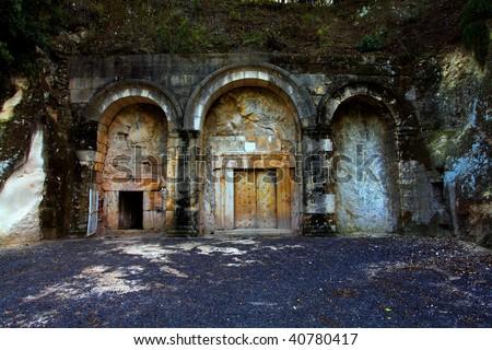 Ancient jewish tomb in Beit Shearim, israel - stock photo
