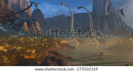 Ancient Jurassic Coast - Two Omeisaurus dinosaurs crossing an inlet become upset with flying Pterosaurs looking for fish. - stock photo