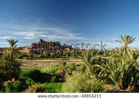 Ancient Kasbah near Ouarzazate, Atlas Mountains in Morocco - stock photo