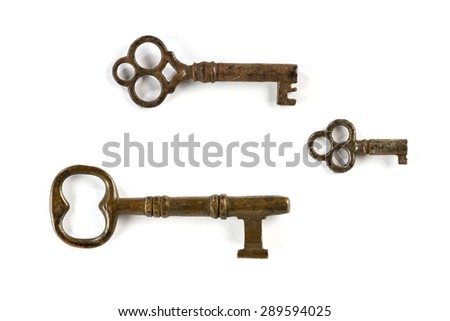 Ancient keys  Old keys isolated on white background