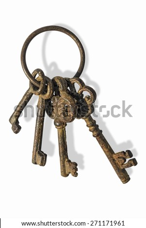 Ancient keys with clipping path Bunch of old keys isolated on white background