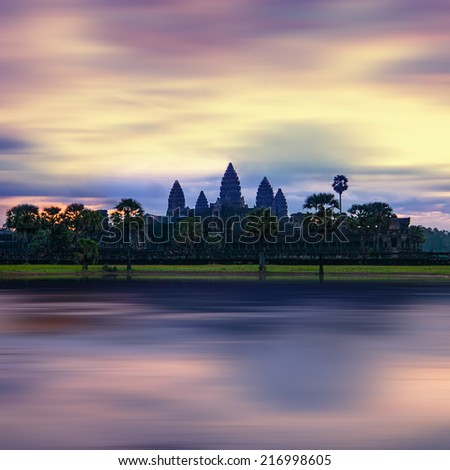 Ancient Khmer architecture. Panorama view of Angkor Thom temple at sunset. Angkor Wat complex, Siem Reap, Cambodia travel destinations  - stock photo