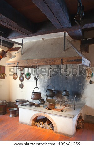 Ancient kitchen of the old casle - stock photo