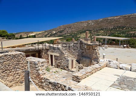 Ancient Knossos Palace at Crete Island in Greece - stock photo
