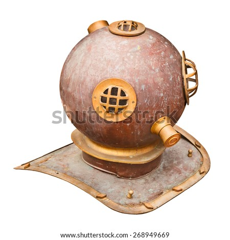 Ancient large diving helmet isolated on a white background - stock photo