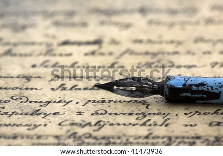 Ancient letter and pen - stock photo