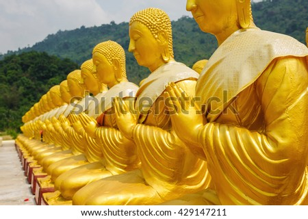 Ancient Lord Buddha Statue Nakhon Nayok Province in thailand - stock photo