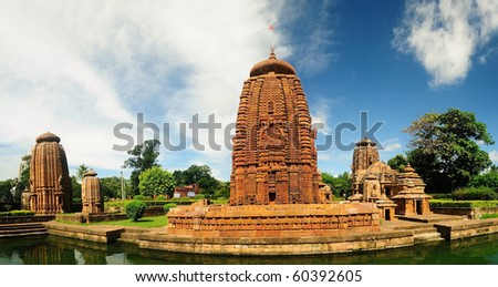 Ancient lord shiva temples of north India in panoramic view - stock photo