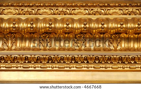 ancient luxury interior, ceiling gold ornament's details - stock photo