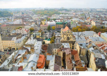 Ancient Lviv view from height, tilt-shift. Nice view of the ancient city, a tourist place.