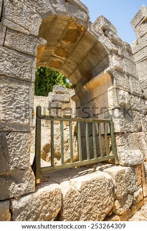 Ancient lycian Myra rock tomb ruins at Turkey Demre. Antalia region. - stock photo