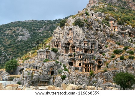 ancient Lycian rock tombs in Demre (Myra) in Turkey - stock photo
