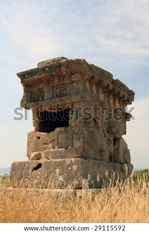 ancient lykia tomb under the sunshine - stock photo