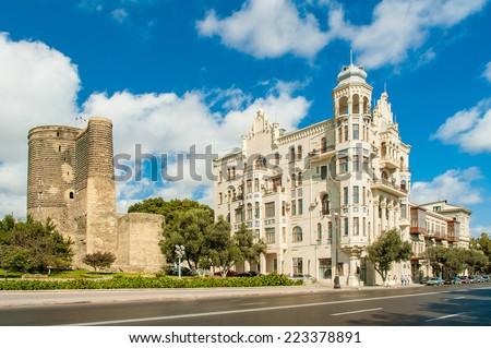 Ancient Maiden Tower in Baku Azerbaijan - stock photo