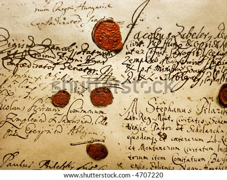 Ancient Manuscript (Fragment Of The Real Ancient (A.D.1707) Manuscript With Red Wax Seals) - stock photo