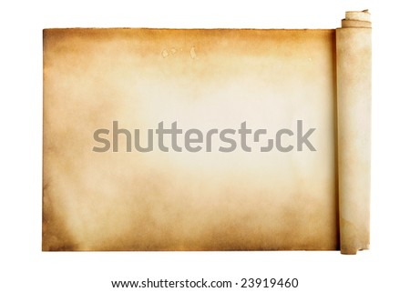 Ancient manuscript isolated over a white background - stock photo
