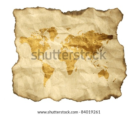 ancient map, isolated on a white background - stock photo