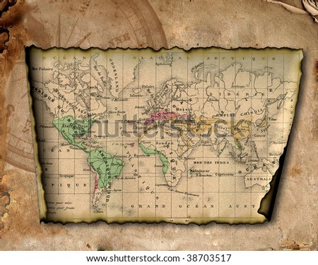 Ancient map of the world. The torn, scorched edges. Compass. - stock photo